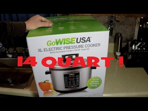 , GoWISE USA GW22637 4th-Generation Electric Pressure Cooker with rice scooper, and measuring cup, 14 QT