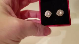 Studs Earrings,18K White Gold Plated Square Cz