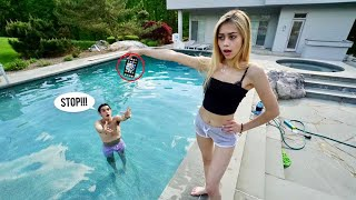 ANGRY GIRLFRIEND THROWS my iPhone in the POOL..