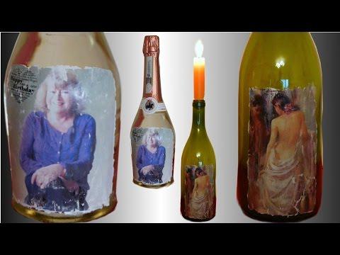 Fototransfer auf Glas, Geschenk Flasche mit Grußkarte. Anleitung für Acryllack