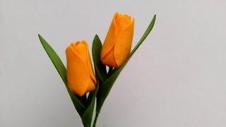 DIY Felt Flowers Tulip | Cara Membuat Bunga Flanel Tulip