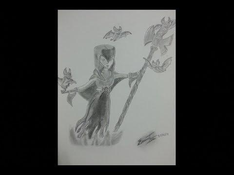 Como Dibujo A La Bruja Nocturna De Clash Royale How To Draw Night