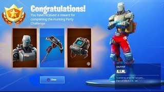 New HUNTING PARTY Skin REWARDS! (New Fortnite A.I.M Pickaxe?!)