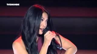 "Anggun singing ""Je Partirai"" live in Dakar for the French-speaking World Summit"