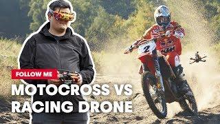 FPV Racing Drone Films A Motocross Racer Shredding A Sand Track | Follow Me