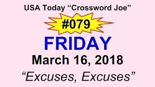 """#079 USA Today Crossword """"Excuses, Excuses"""" March 16, 2018"""