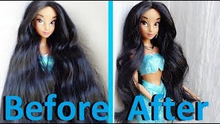 Make-over: Jasmine Disney Doll Box Hair Fix Tutorial [NO Reroot!] (by EahBoy)