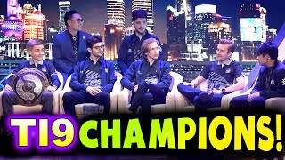 OG - TI9 CHAMPIONS INTERVIEW! - THE INTERNATIONAL 2019 DOTA 2