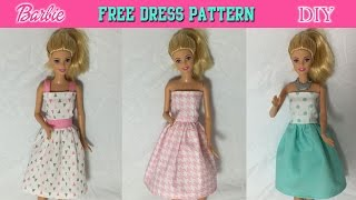 DIY Tutorial  How To Make Barbie Doll Dress Free Pattern