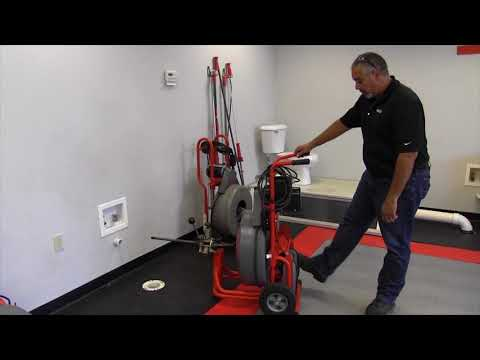 Learn how the RIDGID K7500 drum machine kickstand works