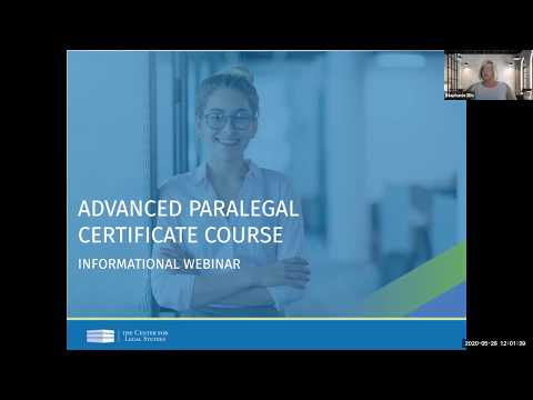 Advanced Paralegal Informational Webinar (May 2020) | The Center ...
