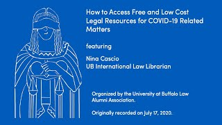 webinar of how to access free and low-cost legal resources for COVID-19 related materials