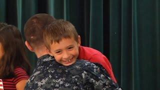 Military Dad Surprises Son During School Presentation on Patriotism