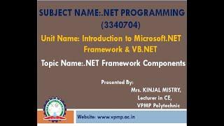 .NET Framework Components  .Net Programming  3340704  Mrs.Kinjal Mistry