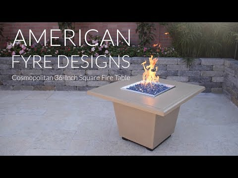 American Fyre Designs Cosmopolitan 36-Inch Square Fire Table - Cafe Blanco