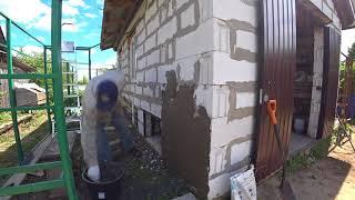 Строим современный курятник ч.31 Штукатурим стены и красим вольеры