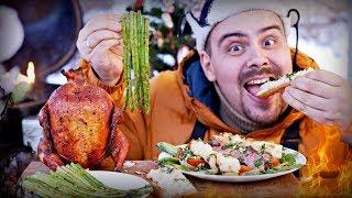 Меню на Новый Год 2018 ✅  Вишневая курица на банке, салат со стейком, спаржа и аля бабагануш   Гриль