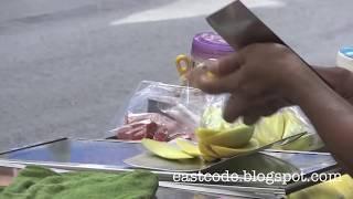 Unripe Mango Cutting Skill Silom Road  Bangkok