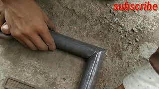 How to make square tubing miter joint- welding steel tube corner joint || iron pipe 45 degree cut
