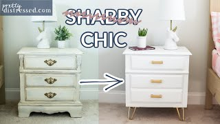From Shabby Chic To Chic | Modern Nightstand Makeover With Smoooth Finish & Hairpin Legs