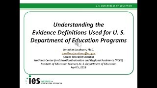 Understanding the Department of Education's Evidence Definitions