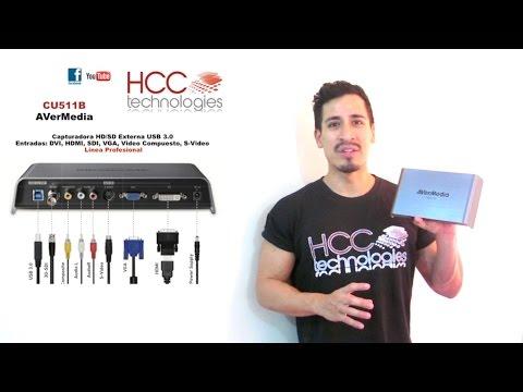 Capturador USB  para Captura Streaming de Video HDMI SDI VGA RCA DVI S-Video HD SD CU511B AVerMedia