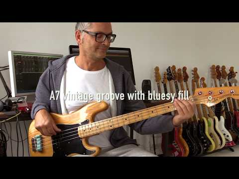 Funky jazzy bluesy bassfill over soul groove, how to play