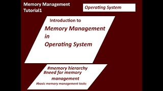 Memory Management in Operating System Tutorial-1