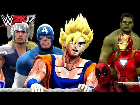 Download Goku Vs Hulk Vs Deadpool Vs Iron Man Vs Captain America Vs Thor | WWE 2K17 HD Mp4 3GP Video and MP3