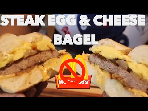 How to make the Ultimate McDonalds Steak egg and Cheese Bagel