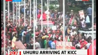 President Uhuru makes his way to KICC to present his papers to IEBC