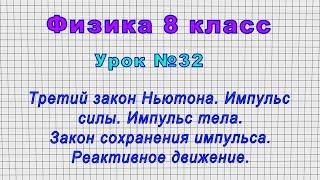 Физика 8 класс Урок 32 - Третий закон Ньютона.Импульс силы.Импульс тела.Закон сохранения импульса.
