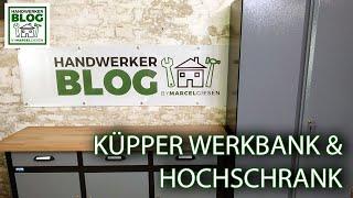 Werkstatteinrichtung von Küpper aufgebaut (Werkbank und Hochschrank)