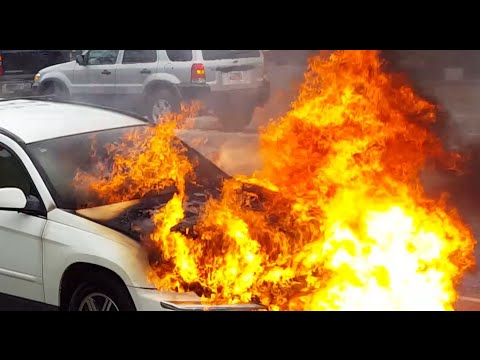 Raw Video Car Fire But Owner Has Good Sense Of Humor