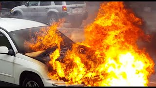 Raw Video Car Fire But Owner Has Good Sense Of Humor