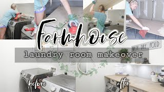 DIY FARMHOUSE LAUNDRY ROOM MAKEOVER//DIY TABLE TOP FOR WASHER AND DRYER//SIMPLY KAYLE