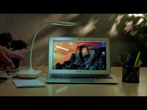 Lunartec Schwanenhals-Schreibtischlampe mit 3-Watt-COB-LED & Akku, USB-Ladung
