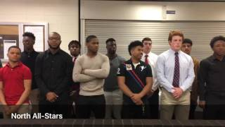 Phil Simms addresses players at North-South All-Star Football Classic meeting