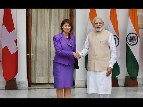 PM Modi with Swiss President Mrs. Doris Leuthard at Joint Press Statements