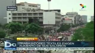 preview picture of video 'Trabajadores de industria textil de Camboya exigen aumento de salario'