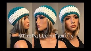 How To Crochet A Popcorn Bobble Stitch Beanie Hat Pattern #593│by ThePatternFamily