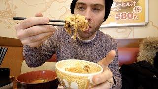 MASSIVE Beef Bowl BREAKFAST at Sukiya - Japanese FAST FOOD + Kyoto Tower | Kyoto, Japan