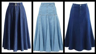 2020 New Trendy High Quality A-line Denim Midi Skirts Design Collection For Girls And Women
