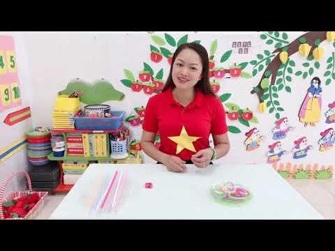Hướng dẫn trẻ 3-4 tuổi làm vòng tay từ ống hút: GV Hoàng Thị Hiền.