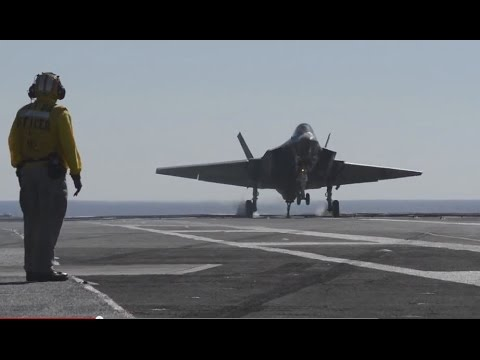 F-35C Completes First Arrested Landing aboard Aircraft Carrier #2