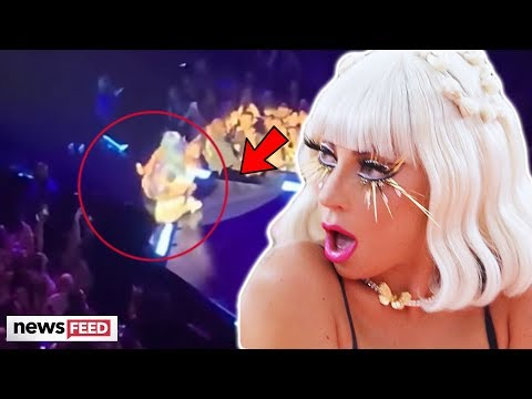 Lady Gaga FALLS Off Stage After Fan Dances With Her Onstage!