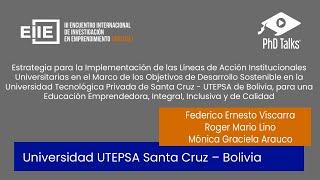 Implementación de Líneas de Acción - Marco ODS en UTEPSA. Educación Emprendedora.
