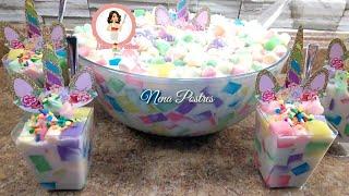 Ensalada De Gelatina Unicornio / Fiesta /Unicorn Jello Salad🦄🌈 Ingredients In English⬇️ Dia Del Niño
