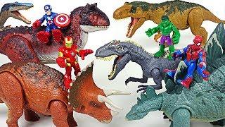 Marvel Avengers Hulk, Spider Man! Ride Jurassic World dinosaurs and defeat villains! - DuDuPopTOY