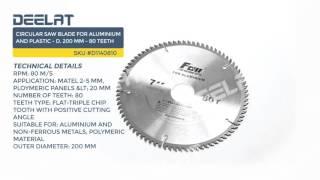 Circular Saw Blade For Aluminium and Plastic - D. 200 mm - 80 Teeth